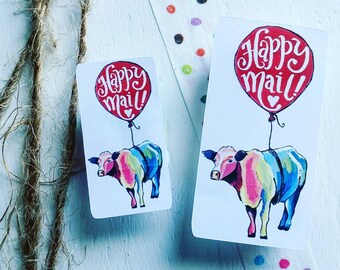 Happy Mail - Happy Mail Cow - A Five Bird's Art & Heavenly's Creations Collaboration - Packaging Stickers