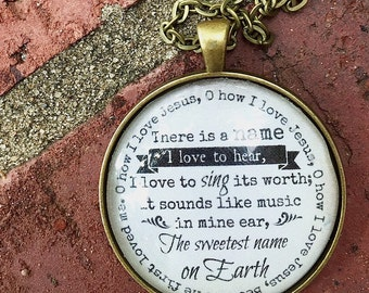 Oh How I Love Jesus Pendant Necklace, Pendant Necklace, Antique Gold Necklace, Hymn Necklace