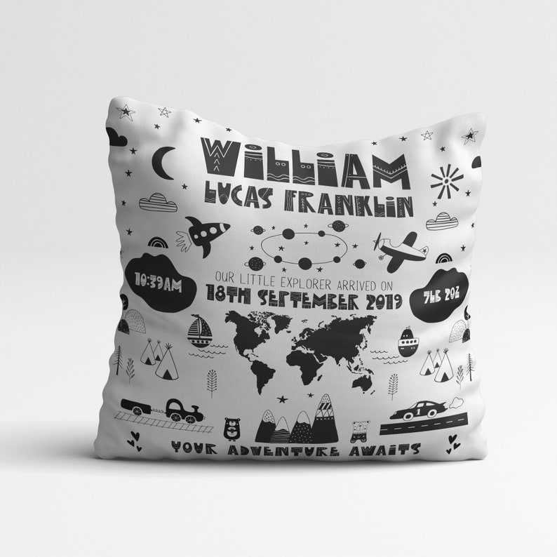 Black /& White Little Explorer Ideal gift for a newborn or child to brighten up a nurserybedroom Personalised Baby Birth Cushion