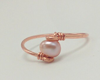 Pink Fresh Water Pearl Dainty gold silver copper rose gold Gypsy Bohemian Jewelry minimalist
