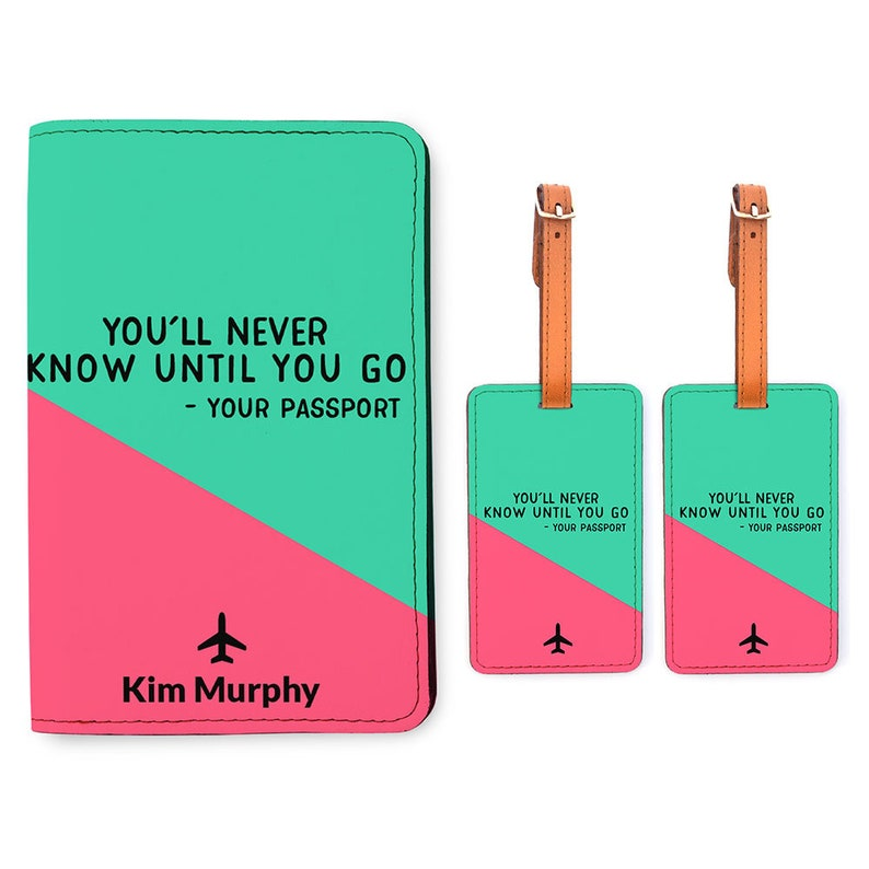 caac1b57d9e1 Personalized Passport Holder 2 Luggage Tag Matching Set - Customized  Passport Cover - Travel Wedding Gifts - You'll Never Know Until You Go