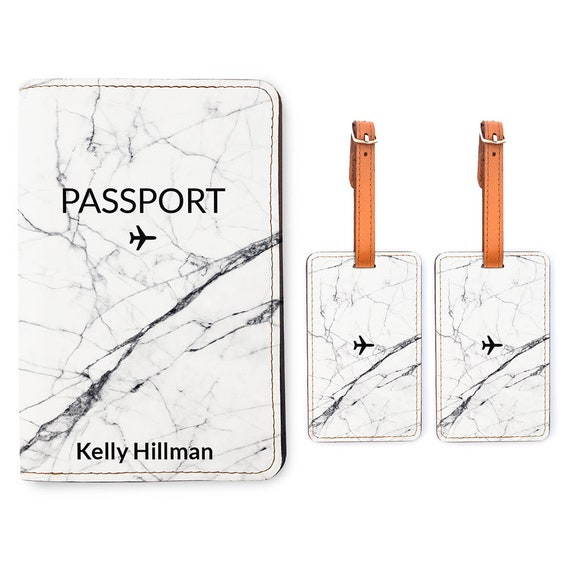 Travel Gifts Personalized Passport Holder 2 Luggage Tag Matching Set Wedding Gift Eat Well Travel Often Customized Passport Cover