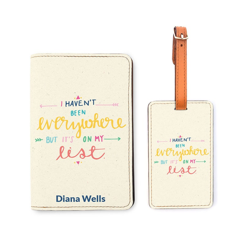 6a7ea48c1657 Personalized Passport Holder Matching Luggage Set - Customized Passport  Cover - Travel Gifts - I Have't Been Everywhere, But It's On My List