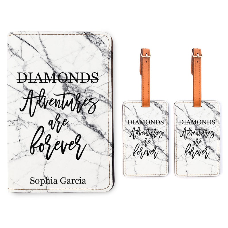 Wedding Gift Adventures are Forever Travel Gifts Personalized Passport Holder 2 Luggage Tag Matching Set Customized Passport Cover