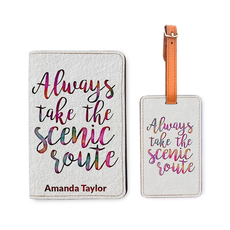 b7148462c62c Personalized Passport Holder Matching Luggage Set - Customized Passport  Cover - Travel Gifts - Always Take The Scenic Route