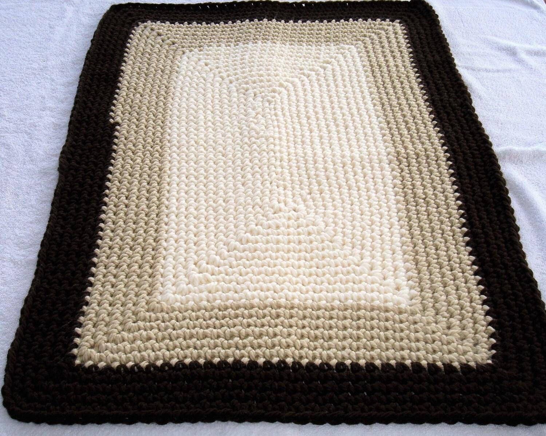 Rechteck häkeln Teppich braun beige und Creme Bodenteppich | Etsy