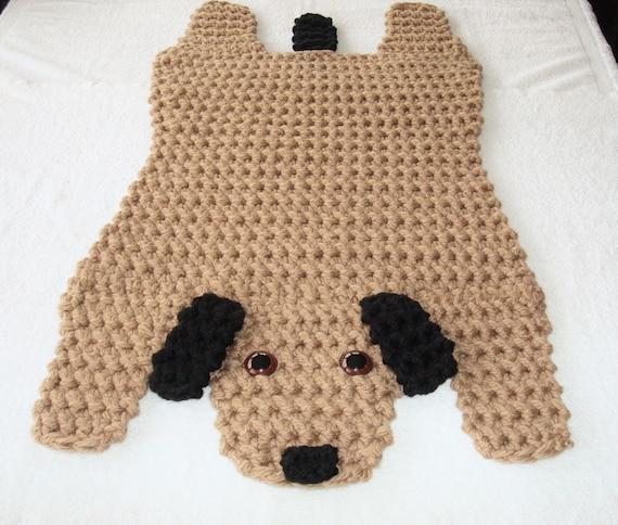 Dog Rubbing Ears On Rug: Crocheted Brown And Black Dog Rug Animal Floor Rug Puppy