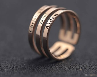 Handmade Sterling Silver Name Ring, Three Name Ring, Custom Triple Name Ring, Name Ring Gold, Peronalized Name Ring, Valentines Gift
