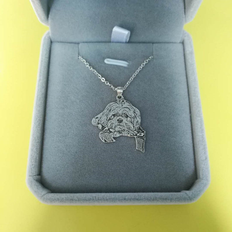 Silver Picture Gift Pet Loss Father/'s Day Gift Pet Memorial Jewelry Engraved Photo Necklace Custom Portrait Necklace Dog Photo Pendant