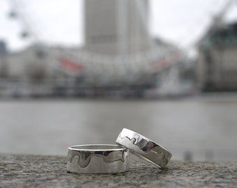 Handmade Silver River Thames London Ring | London Jewellery | River Ring | Custom Wedding Band | Landscape Jewellery | Map Jewelry | Thames