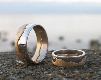Two Tone Gold Coastline Ring | Coast Ring | Map Jewellery | Custom Map Ring | Landscape Jewellery | Alternative Wedding Ring
