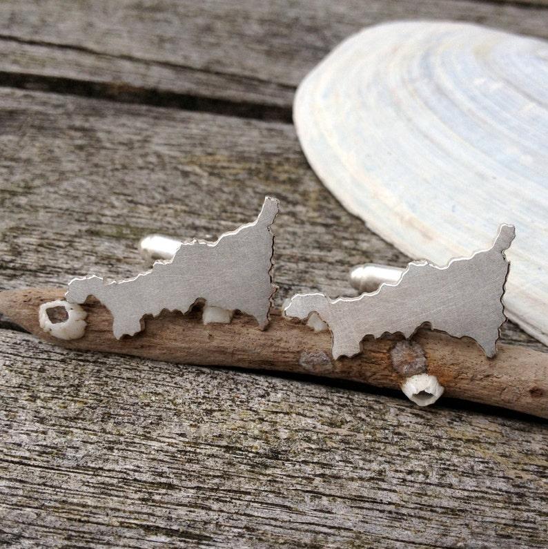 Map Cufflinks Handcut Jewellery Cornish Cufflinks Handmade Silver Cornwall Cufflinks Map Jewellery Silver Travel Gift