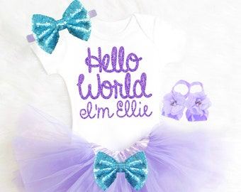 Hello World Outfit Purple Baby Girl Gift Mermaid Baby Shower Purple Newborn Outfit Mermaid Baby Outfit Newborn Tutu Purple and Aqua
