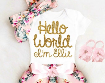 Newborn Baby Girl Coming Home Outfit Summer Cute Baby Girl Clothes, Baby Shower Gift HELLO WORLD Boho Baby Girl Outfit Personalized Baby