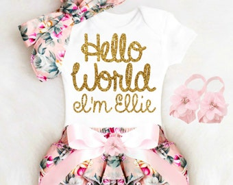 Baby Girl Coming Home Outfit Newborn Girl Take Home Outfit Personalized Baby Girl Clothes Summer Boho Baby Clothes