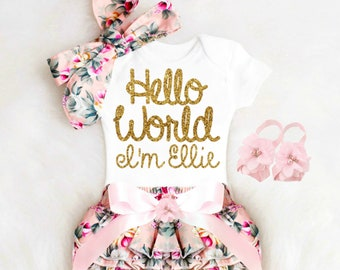 9c9bcce3f Newborn Baby Girl Coming Home Outfit Summer Cute Baby Girl Clothes, Baby  Shower Gift HELLO WORLD Boho Baby Girl Outfit Personalized