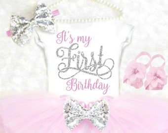First Birthday Outfit Girl 1st Birthday Outfit Pink and Silver Cake Smash Outfit Girl Cake Smash Outfit Winter Pink Tutu ANY AGE 15
