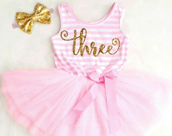 Third Birthday Dress Pink Tutu Dress Three Birthday Valentine/'s Day Dress Girls Valentine/'s Outfit 3rd Birthday Outfit Girl