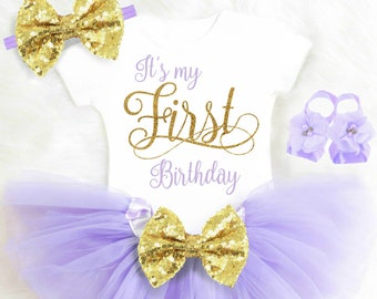 Its My First Birthday Outfit Girl 1st Birthday Outfit Purple Cake Smash Outfit Girl Cake Smash Outfit Gold and Purple Tutu ANY AGE 15