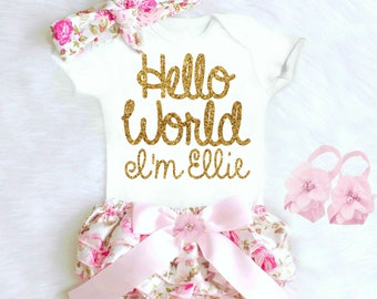 Baby Girl Clothes, Newborn Baby Girl Coming Home Outfit, Cute Baby Clothes, Baby Shower Gift HELLO WORLD Boho Baby Girl Outfit Personalized