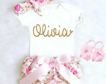 Baby Girl Coming Home Outfit Baby Girl Clothes Personalized Newborn Girl Outfit Summer Bloomers Personalized Baby Gift Baby Girl Outfit