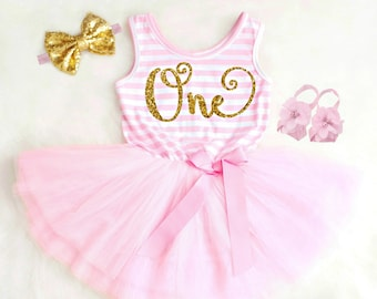 16e0548bc First Birthday Dress Baby Girl First Birthday Outfit Girl Boho 1st Birthday  Girl Outfit Pink and Gold 1st Birthday Dress Baby Girl Clothes