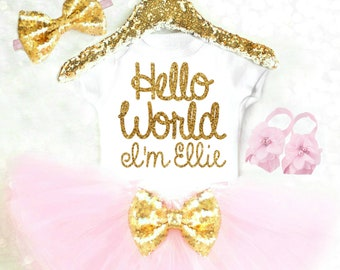 Baby Girl Clothes Baby Girl Outfits Summer Baby Girl Coming Home Outfit Personalized Hello World Baby Girl Gift Baby Shower Gift Girl