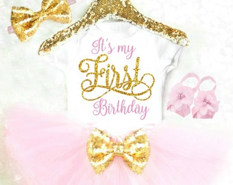 First Birthday Outfit Girl Pink and Gold 1st Birthday Girl Outfit Baby Girl Clothes Boho 1st Birthday Outfit Cake Smash Outfit Summer
