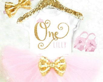Princess First Birthday Outfit Baby Girl 1st Birthday Outfits Pink and Gold Birthday Outfit Birthday Princess Outfit with Tiara Crown 21