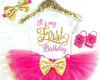 1st Birthday Girl Outfit Pink and Gold First Birthday Outfit Girl Summer Smash Cake Outfit Boho Baby Girl Birthday Outfit Cake Smash Outfit