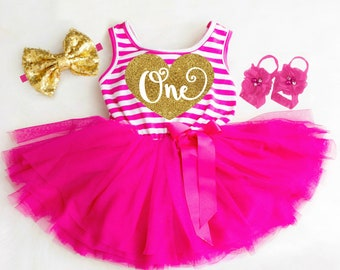 64b5786b909d6 1st Birthday Dress Baby Girl First Birthday Dress 1st Birthday Outfit Girl  Pink and Gold First Birthday Outfit Boho Baby Girl Clothes One