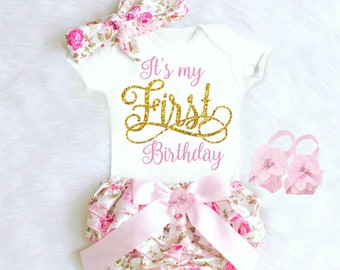 9b9036cfd Personalized First Birthday Outfit Girl 1st Birthday Girl Outfit Baby Girl  Clothes Boho Birthday Outfit Its My 1st Birthday Cake Smash