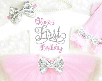 First Birthday Outfit Girl 1st Personalized My Pink And Silver Winter Wonderland