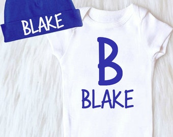 Baby Boy Coming Home Outfit, Newborn Baby Boy Clothes, Personalized Baby Boy Outfit, Boy Take Home Outfit, Baby Beanie Boy Monogrammed