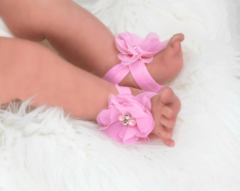 Baby Barefoot Sandals Pink Baby Sandals Newborn Girl Shoes