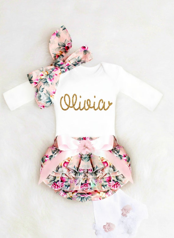 Newborn Baby girl coming home outfit newborn baby girl take home outfit Baby girl clothes Monogram baby gown Personalized baby girl gown