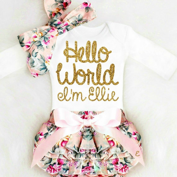 f49608677 Baby Girl Coming Home Outfit Take Home Outfit Hello World