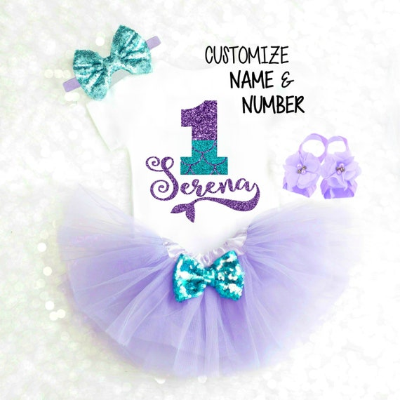 toddler Personalized 1st Birthday Outfit 2nd Birthday Mermaid Birthday Outfit Sea Birthday Outfit Glitter Sparkle
