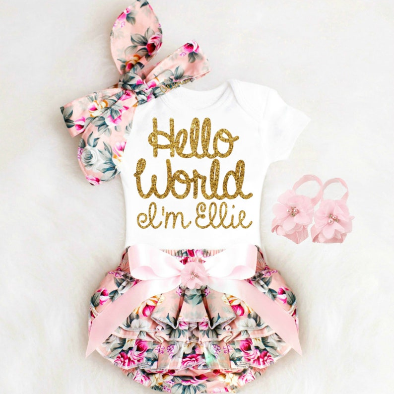 a6798d5cffb4a Baby Girl Coming Home Outfit Baby Girl Clothes Newborn Girl | Etsy