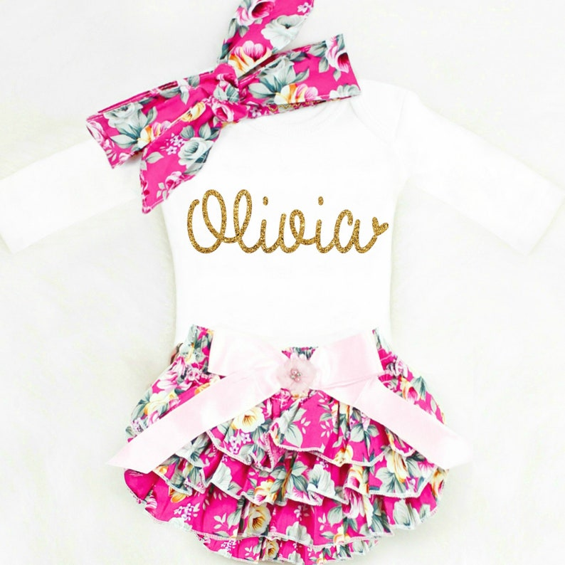 205429b887ee Personalized Baby Girl Outfits Baby Clothes Baby Shower Gift