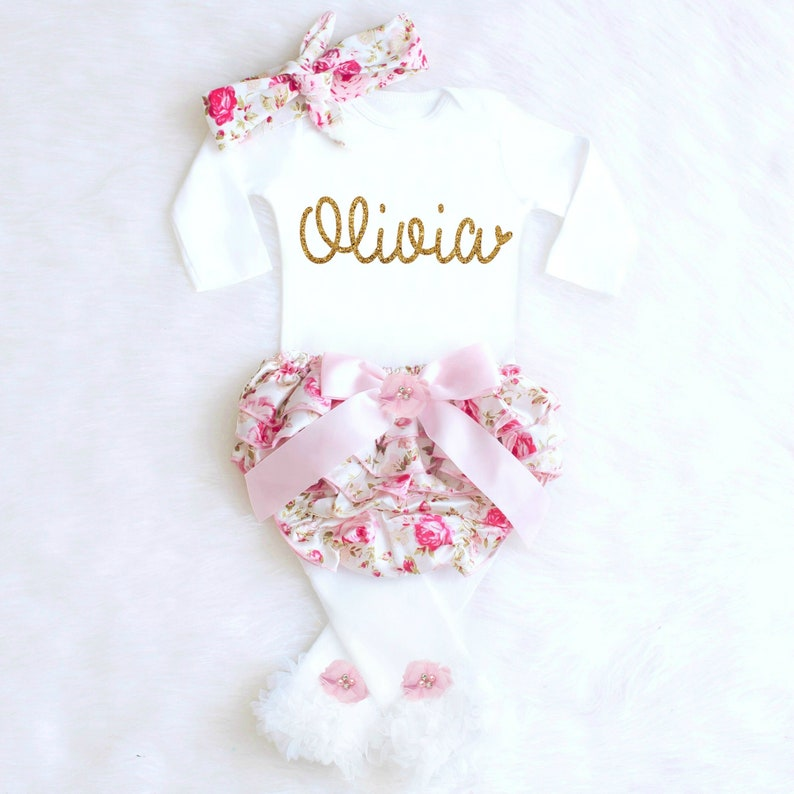 Baby Girl Coming Home Outfit Baby Girl Clothes Personalized image 0