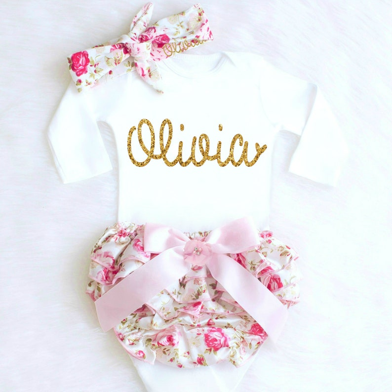 b125062b4b90 Baby Girl Clothes Newborn Girl Coming Home Outfit Personalized