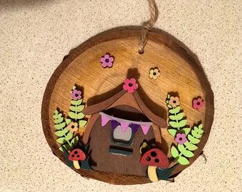 Fairy doors, hanging fairy doors, cute fairy doors, elf doors, pixie doors, oak slice fairy door, cute gifts