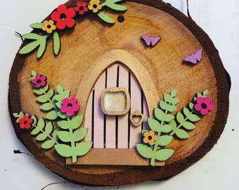 Fairy door, pink and gold fairy door, cute fairy doors, hanging fairy doors, oak slice fairy doors, pixie doors, elf doors