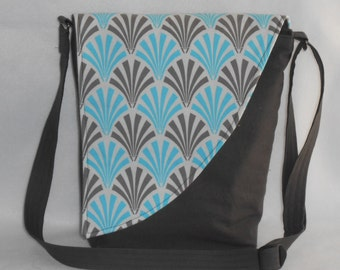 Crossbody Bag - Taupe Base with Blue & Taupe Deco Fan Pattern Flap