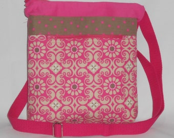 Pink and Brown Print Crossbody Bag