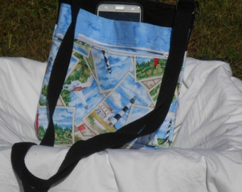 Lightblue Lighthouses Crossbody Bag