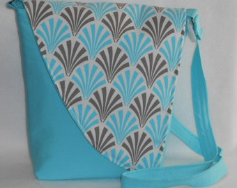 Crossbody Bag - Blue Base with Blue & Taupe Deco Fan Pattern Flap