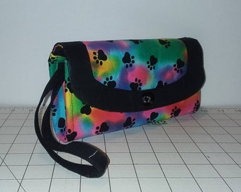 Neon Tie Dye with Black Paw Prints Necessary Clutch Wallet