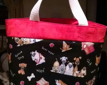 Insulated Lunch Bag - Black with Whimsical Dogs